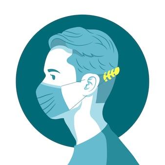 Homem usando uma alça de máscara facial ajustável