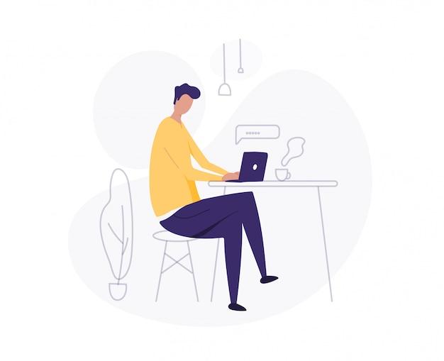 Homem usar laptop. trabalhando em casa. trabalhador autonomo. jovem, ilustração de estudante.