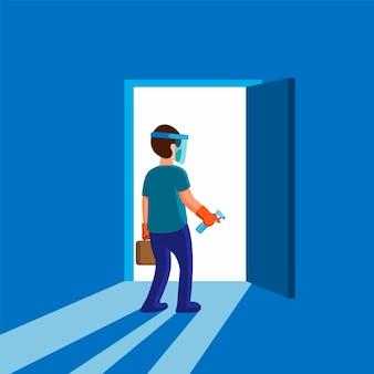 Homem usar máscara de proteção completa e luva, segurando o desinfetante para as mãos, protegido contra vírus em pé na porta da frente, pronto para sair para nova atividade normal após uma pandemia na ilustração plana dos desenhos animados