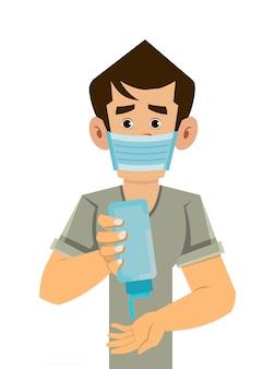 Homem usar máscara e limpar a mão com desinfetante para as mãos