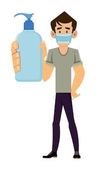 Homem usar máscara facial e mostrar garrafa desinfetante para as mãos