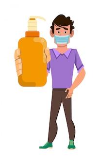 Homem usar máscara facial e mostrar o frasco de gel de álcool