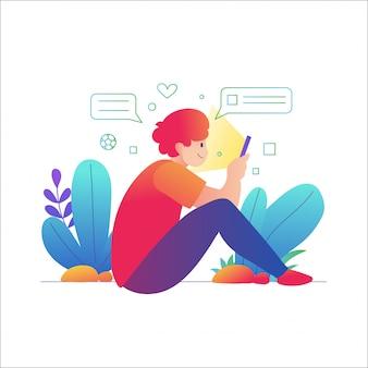 Homem usar smartphone, um homem sentado usando um telefone celular Vetor Premium