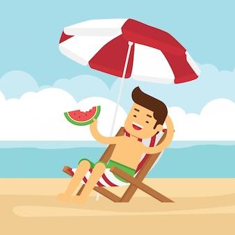 Homem vai viajar nas férias de verão, menino comendo melancia na praia
