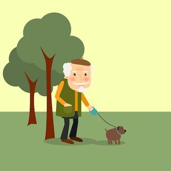 Homem velho, com, cão, parque