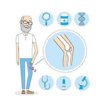 Homem velho com tratamento da dor no joelho