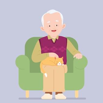 Homem velho e gato ruivo