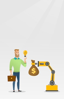 Homem vendendo ideia de engenharia de mão robótica