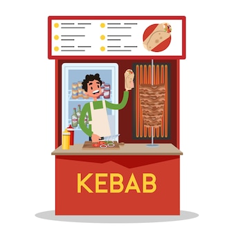 Homem vendendo kebab árabe tradicional. mercado de comida de rua