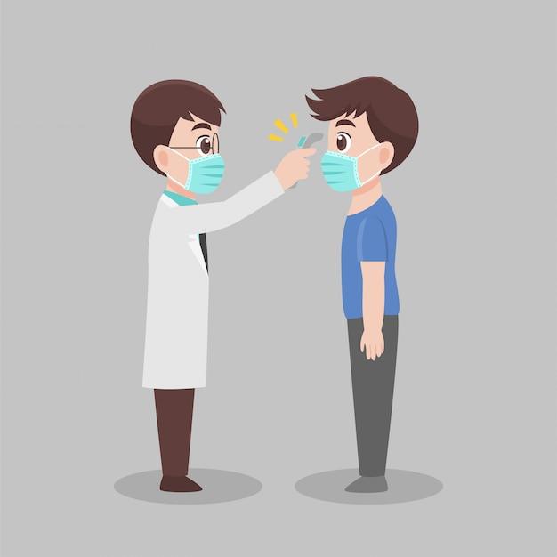 Homem ver médico para verificar a si mesmo, médico de varredura de temperatura de mulher para verificação de vírus corona