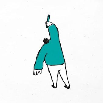 Homem verde desenhando um ícone de desenho vetorial