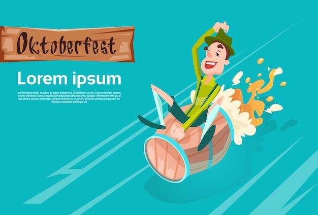 Homem, verde, patric, passeio, barril cerveja, oktoberfest, festival