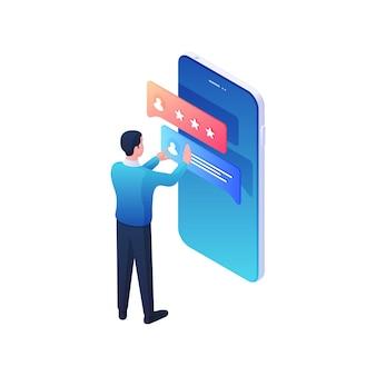 Homem verifica a classificação de sua conta na web. o personagem masculino lê atentamente seu perfil no aplicativo móvel. a popularidade aumenta as redes sociais e o conceito de novidades em marketing multimídia.