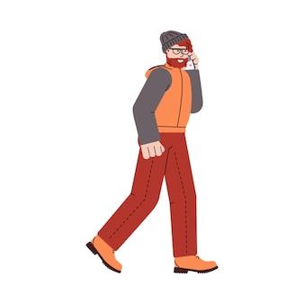 Homem vestido com roupas de outono está andando com o celular, uma ilustração vetorial