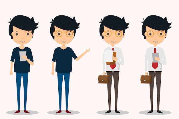 Homem vestido de forma normal e homens vestidos de terno