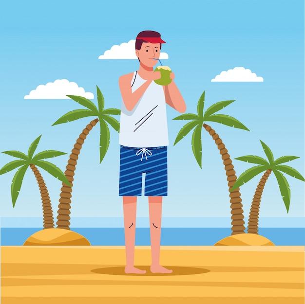 Homem vestindo terno de praia bebendo personagem de coquetel de coco