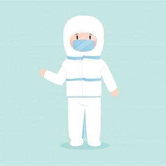 Homem vestindo uma máscara de proteção contra vírus, ilustração em estilo simples