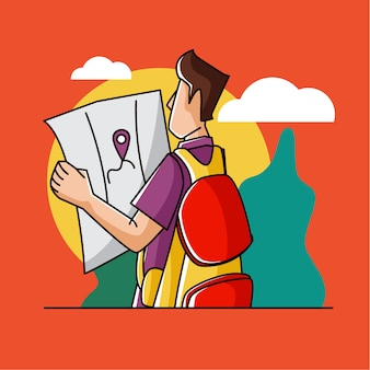 Homem viajando com um mapa