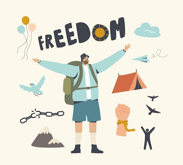 Homem viajante com mochila, alegre-se pela liberdade.