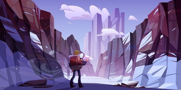 Homem viajante nas montanhas de inverno, jornada de viagem