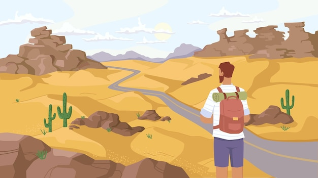Homem viajante observa a paisagem do deserto