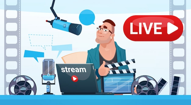 Homem video blogger stream online blogging inscrever conceito
