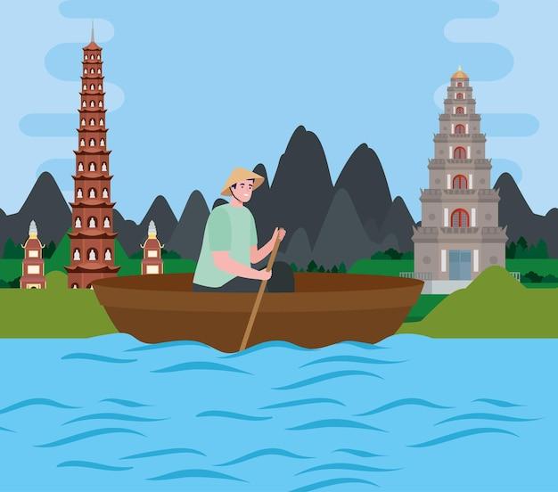 Homem vietnamita em barco