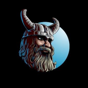 Homem viking com capacete com chifres
