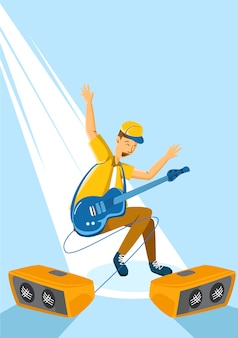 Homem, violão jogo concerto
