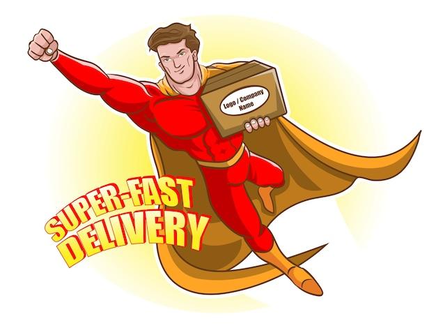 Homem voando e carregando uma caixa para o pacote de pacotes de desenhos animados