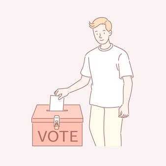 Homem votando seu bilhete em uma urna na arte de linha