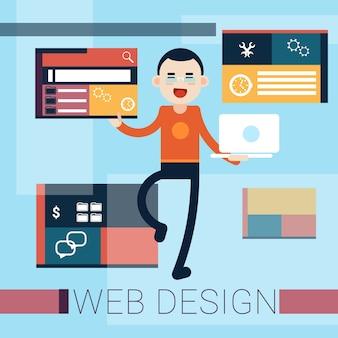 Homem web designer graphic design background