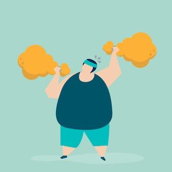 Homem, weightlifting, um, galinha frita, drumstick, ilustração