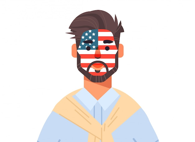 Homem wuth bandeira dos estados unidos rosto pintado comemorando 4 de julho conceito de feriado do dia da independência americana ilustração horizontal retrato