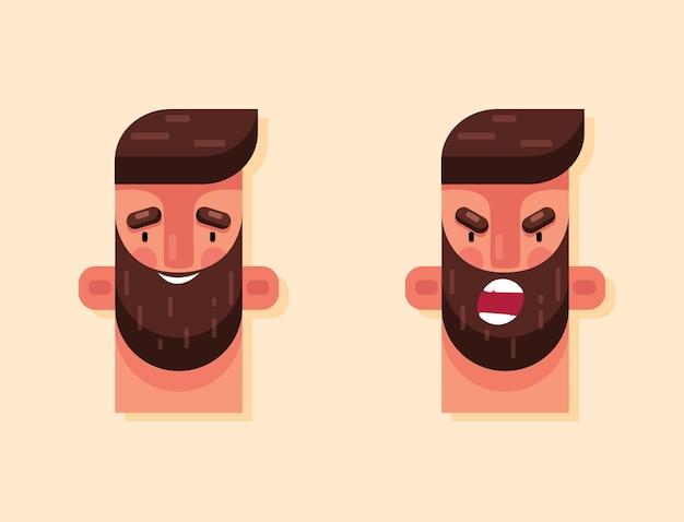 Homem zangado e rosto de homem feliz com barba em um estilo simples de tendência