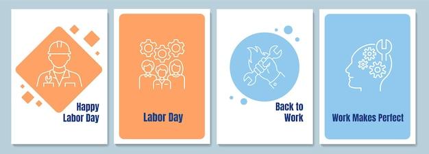 Homenageando cartões postais de realização de trabalhadores com conjunto de ícones de glifo linear. cartão com desenho decorativo de vetor. pôster de estilo simples com ilustração de linhas criativas. flyer com desejo de feriado