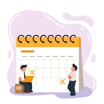 Homens adicionando evento ao calendário