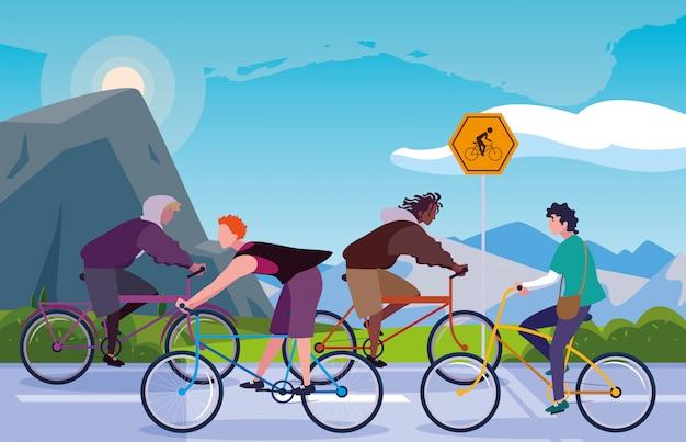 Homens andando de bicicleta na paisagem com sinalização para ciclista