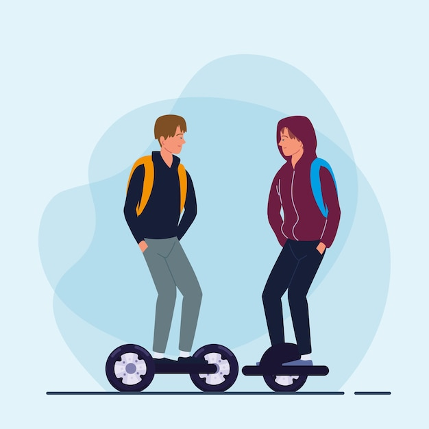 Homens andando de giroscooter e monowheel