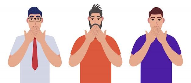 Homens apertando a cabeça com as mãos. emoções e conceito de linguagem corporal. conceito de estresse, tensão e enxaqueca. conjunto de caracteres.