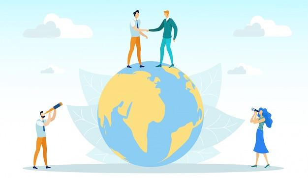 Homens, apertando as mãos em pé no globo, negócios