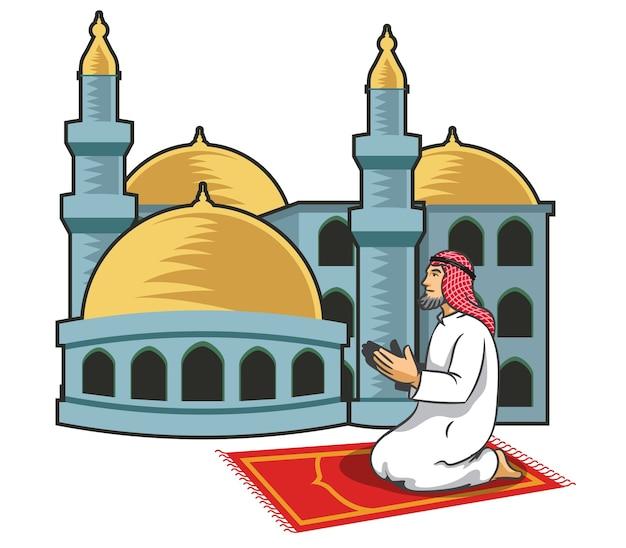 Homens árabes rezando na frente da mesquita