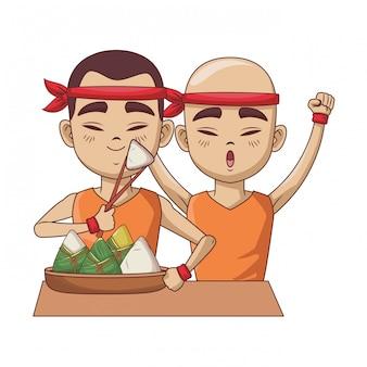 Homens asiáticos com bolinhos de arroz