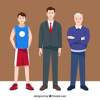 Homens asiáticos em diferentes idades