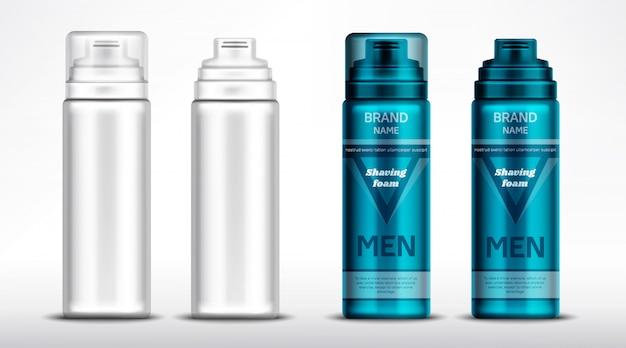 Homens barbear maquete de garrafas de espuma, tubos de cosméticos
