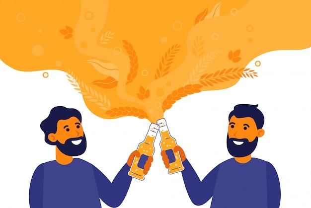 Homens barbudos bebendo cerveja na ilustração plana de garrafa