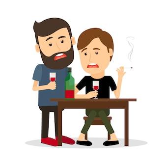 Homens bêbados na mesa