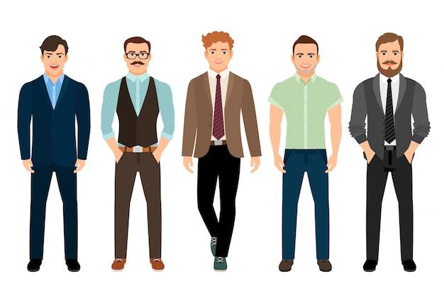 Homens bonitos vestidos em estilo masculino formal de negócios, ilustração vetorial