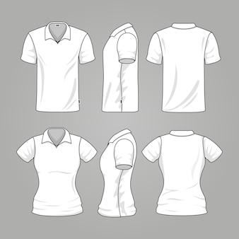 Homens brancos vazios e vetor do esboço do t-shirt das mulheres. modelo, de, t-shirt, para, mulher homem, illustrat
