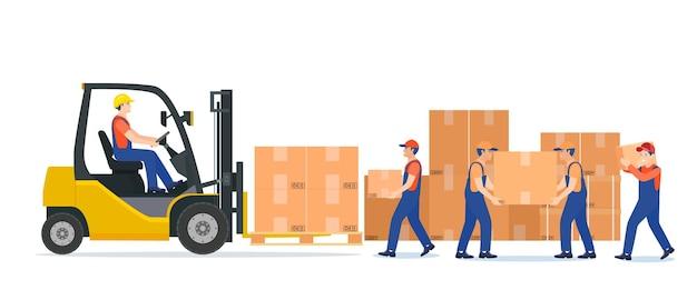 Homens carregando caixas na empilhadeira. serviço de entrega.